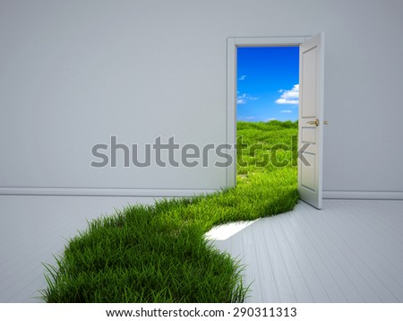 Empty room with opened door and green grass path to the field - stock photo