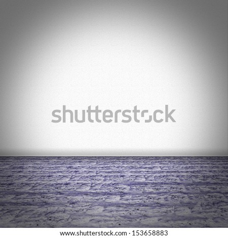 Empty room with purple marble floor and white structured wallpaper - stock photo