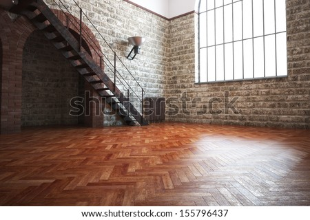 Empty room with rustic finishes of a residential interior or office space - stock photo