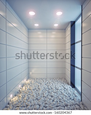 empty room with stones on the floor (illustration concept) - stock photo