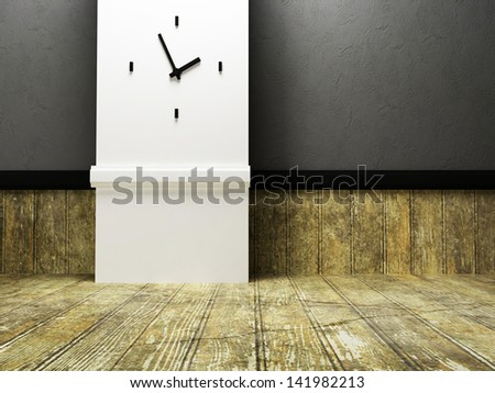 empty room with the clock on the wall - stock photo