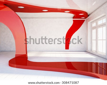 empty room with the window, 3d rendering - stock photo