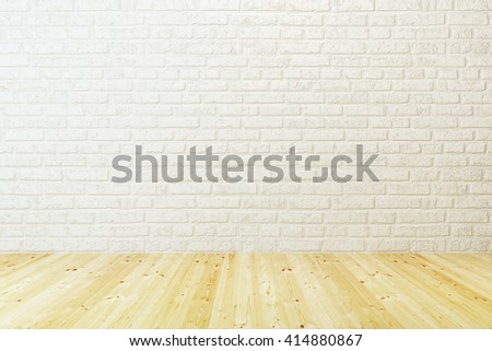 empty room with white brick wall and wooden floor, 3d rendering - stock photo