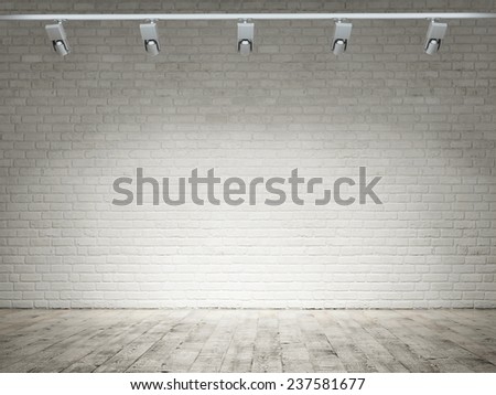 Empty room with white brick wall background - stock photo