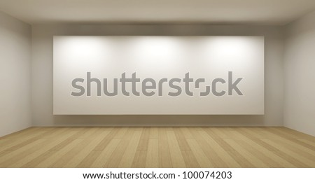 Empty room with white frame, art gallery concept, 3d illustration - stock photo