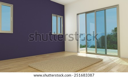 Empty room with window balcony and a carpet - stock photo