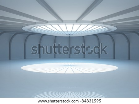 empty round room with balks and skylight, interior showroom - 3d illustration - stock photo