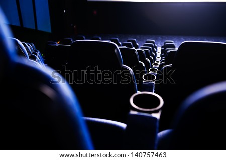 Empty rows of streets in a cinema/theater. - stock photo