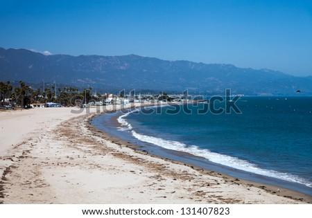 empty Santa Barbara city Leadbetter beach - stock photo