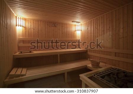Empty Sauna room background  - stock photo