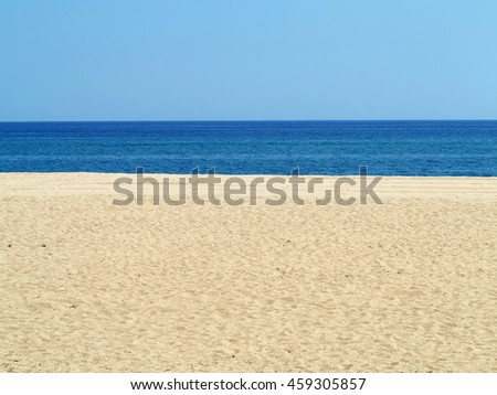 Empty sea and sand beach background on Costa Brava, Spain - stock photo