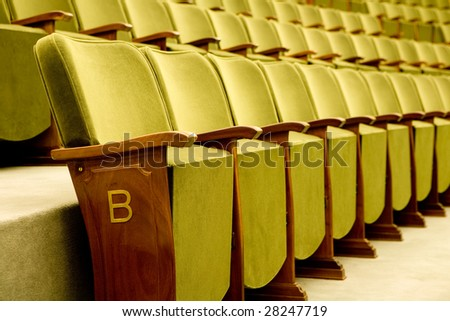 Empty seats for cinema, theater, conference or concert - stock photo