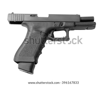 Empty semi-automatic handgun with high capacity magazine isolated on white background.  - stock photo