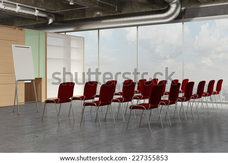 Empty seminar room with flipchart and many red chairs (3D Rendering) - stock photo