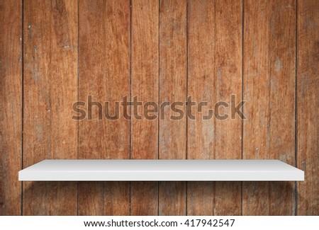 Empty shelf on old wooden background, stock photo - stock photo