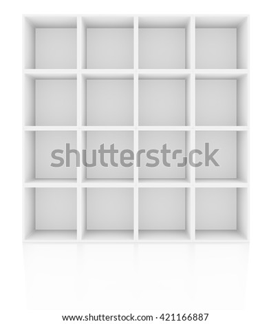 Empty shelves, blank bookcase library. Isolated on white. 3D rendering - stock photo