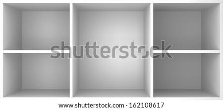 Empty shelves. 3d illustration on white background  - stock photo