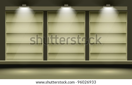 Empty shelves, illuminated by searchlights. - stock photo