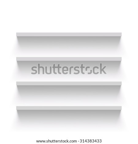 Empty shelves on a white wall. Stock image. - stock photo