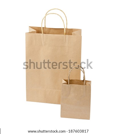 Empty Shopping Bag from craft paper, Recycled paper shopping bag on white background - stock photo