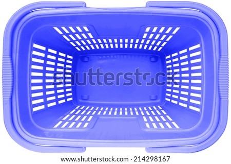 Empty Shopping basket blue color top view supermarket trolley. Isolated on white background. This has clipping path. - stock photo