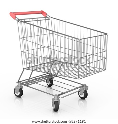 Empty shopping cart. 3D rendered image. - stock photo