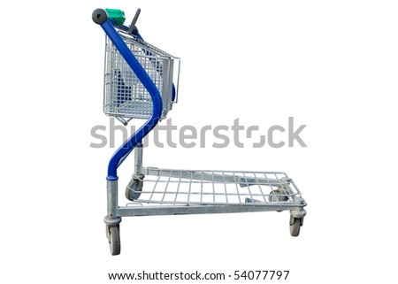Empty shopping cart in a store parking lot - stock photo