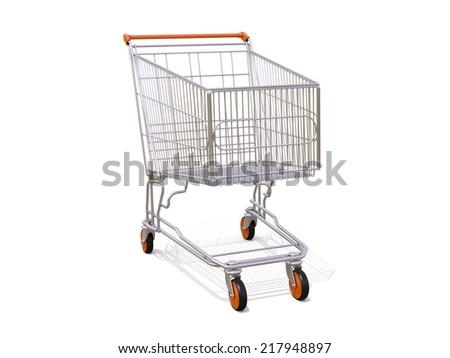 Empty shopping cart isolated on white background - stock photo