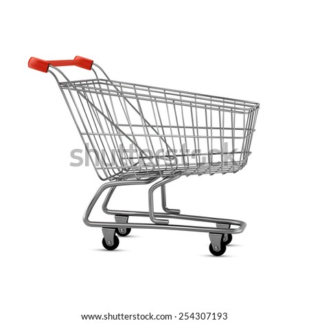 Empty shopping cart, side view, isolated on white background - stock photo
