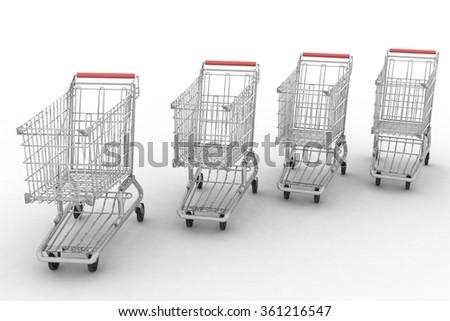 Empty shopping carts isolated on white background - stock photo