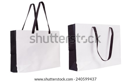 Empty Shopping Paper Bag isolated on white background for advertising and branding.  - stock photo