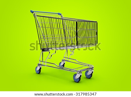 Empty shopping trolley isolated close up - stock photo