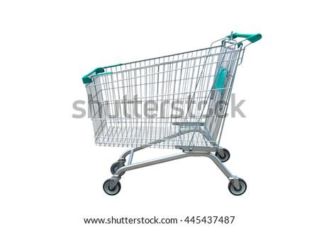 Empty shopping trolley isolated on white background - stock photo