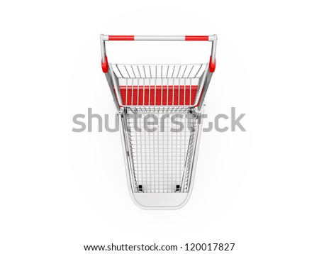 Empty shopping trolley, top view, isolated on white background. - stock photo