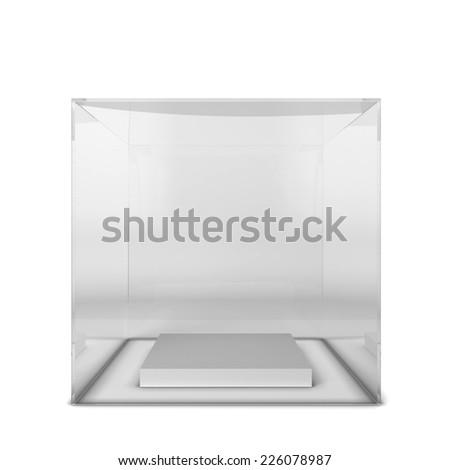 Empty showcase. 3d illustration isolated on white background - stock photo