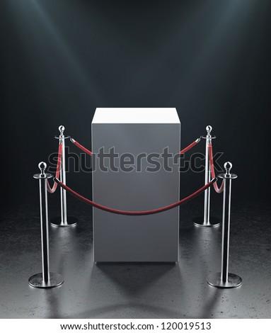 Empty showcase for exhibit. Isolated on black. - stock photo