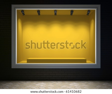 Empty showcase of a shop in the evening light 3D rendering - stock photo