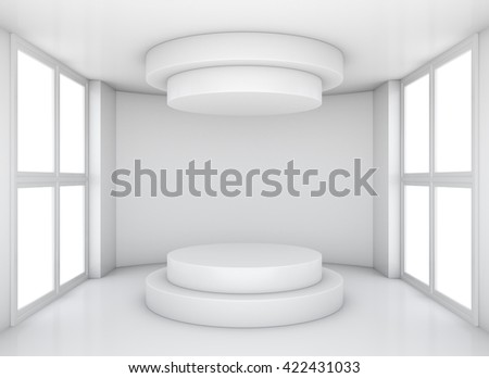 Empty showcase. Pedestal and top cap in white room with window. Template for design. 3D illustration - stock photo