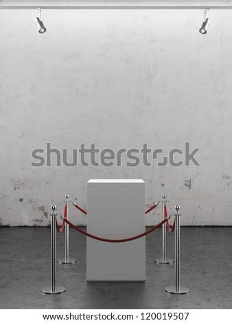 Empty showcase  with spotlights. Plaster wall - stock photo