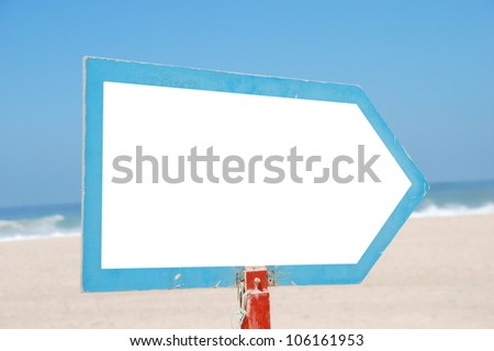 empty sign at the beach isolated on white (blue sky background, copy-space available for design) - stock photo