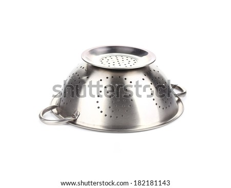 Empty silver colander. Isolated on a white background. - stock photo