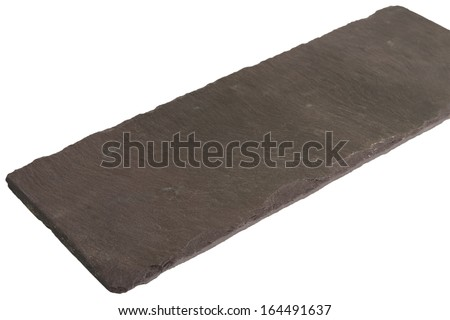 Empty Slate - Black serving platter isolated on a white background. - stock photo