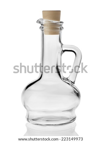Empty small bottle for olive oil with cork stopper isolated on white background  - stock photo
