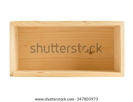Empty small open wooden box packaging isolated on white background - stock photo