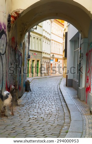 empty small street in old town,  Prague, Czech Republic - stock photo