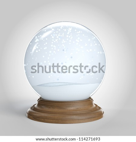 Empty snow globe isolated on white background with copy space for your own content clipping path included - stock photo