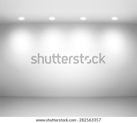 Empty space - empty wall in a room with light spots. - stock photo