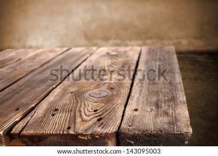 empty space on old wooden table - stock photo
