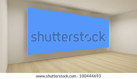 Empty space with blue chroma key backdrop, 3d art concept, clean business room - stock photo