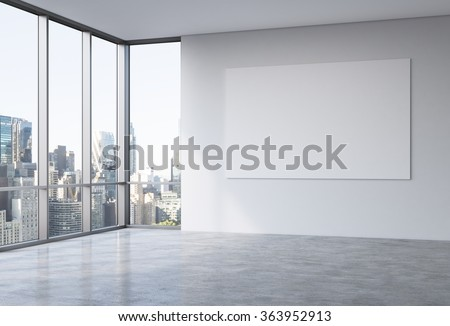 Empty spacious office in a skyscraper, French window to the left, New York view, big white board on the white wall. 3D rendering. - stock photo